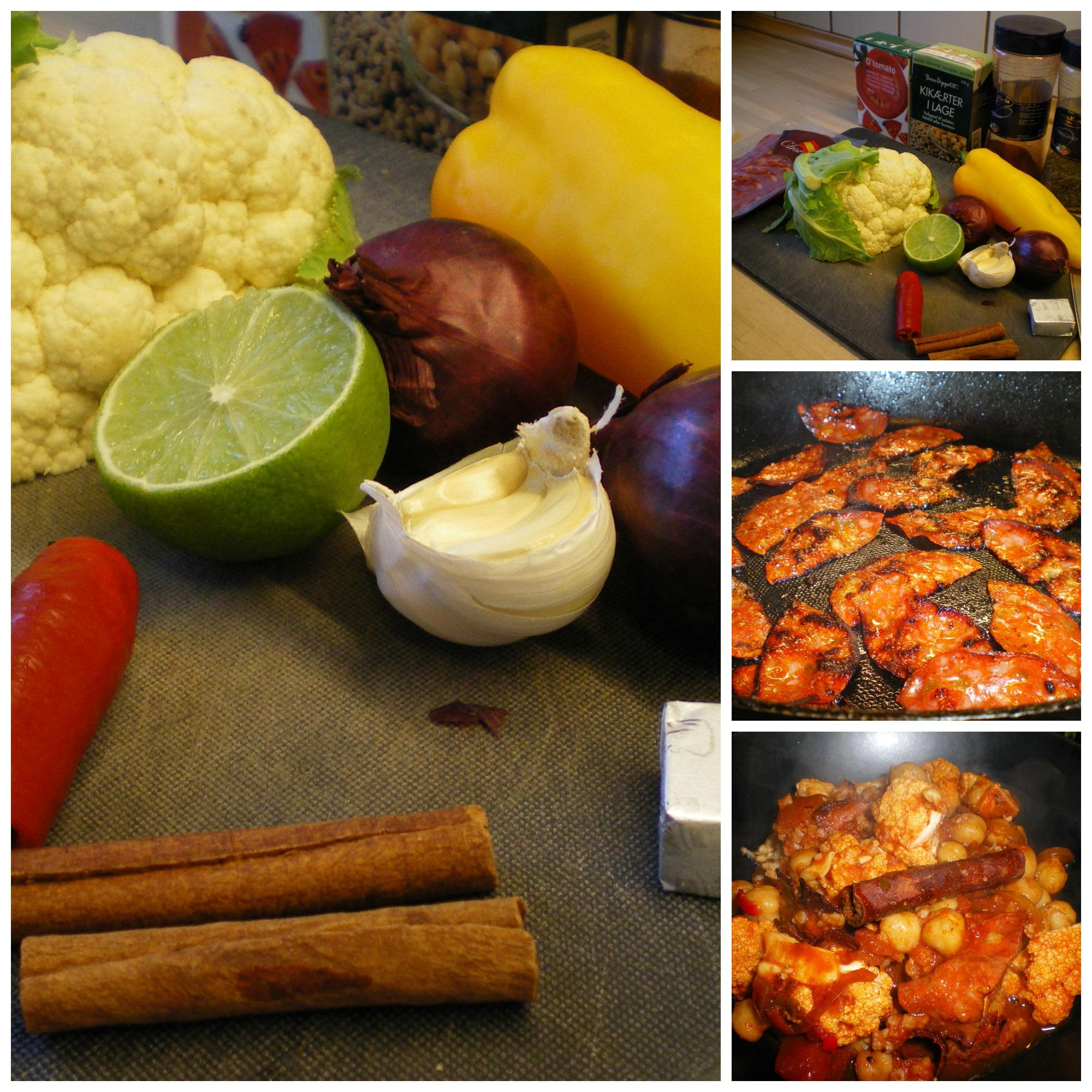 Gryderet med kylling, chorizo, kikærter, peberfrugt og blomkål