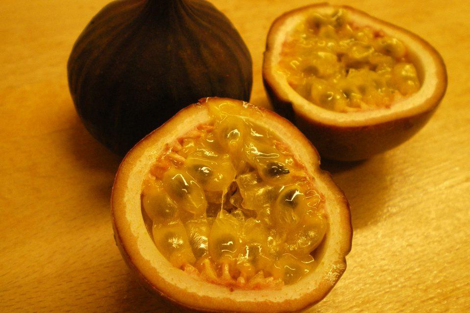 Friske figner med creme af skyr og passionsfrugt og karamelliserede pistacienødder