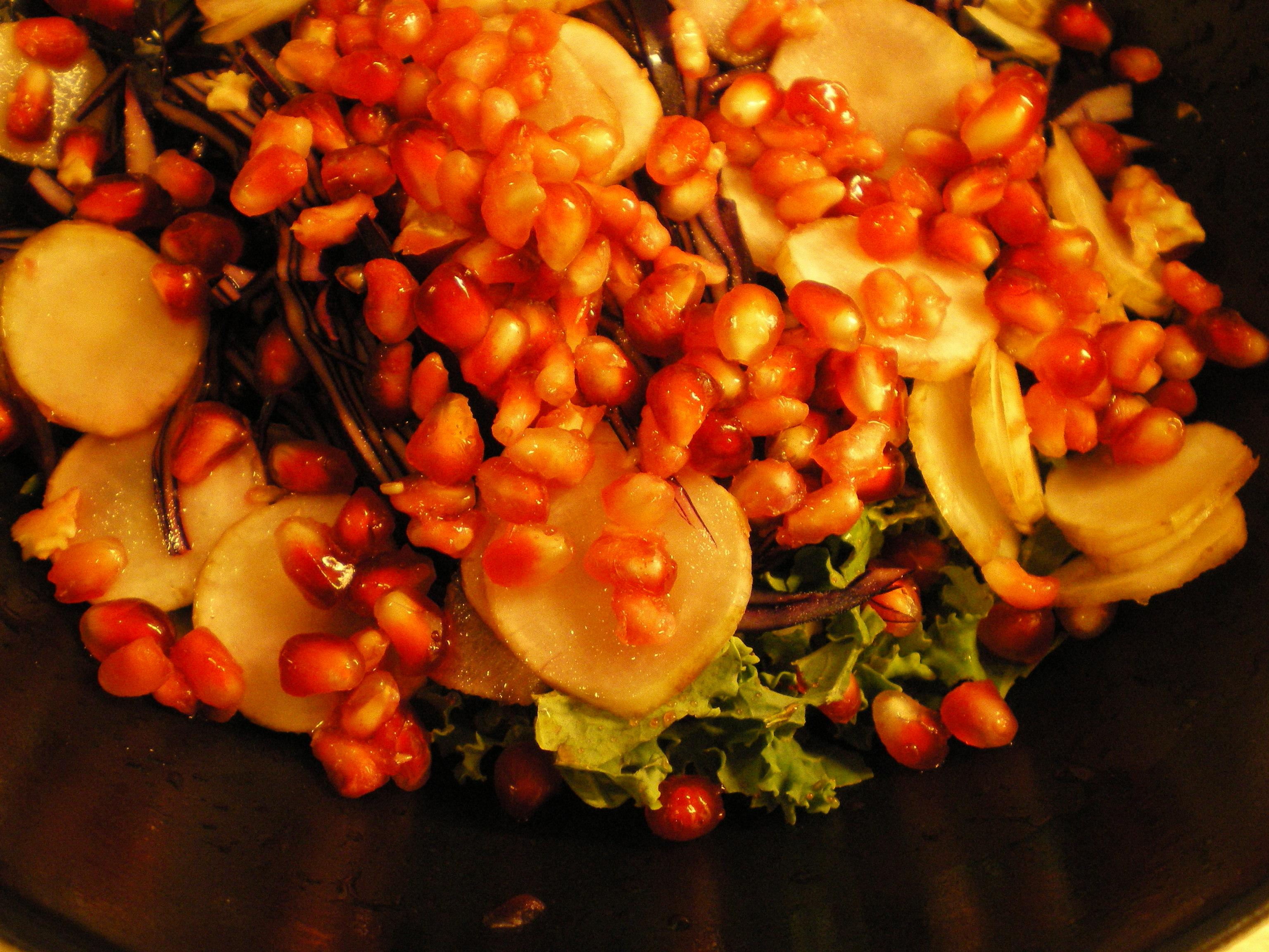 Grønkål #1: råkost med grønkål, rødkål, jordskokker, linser og granatæble