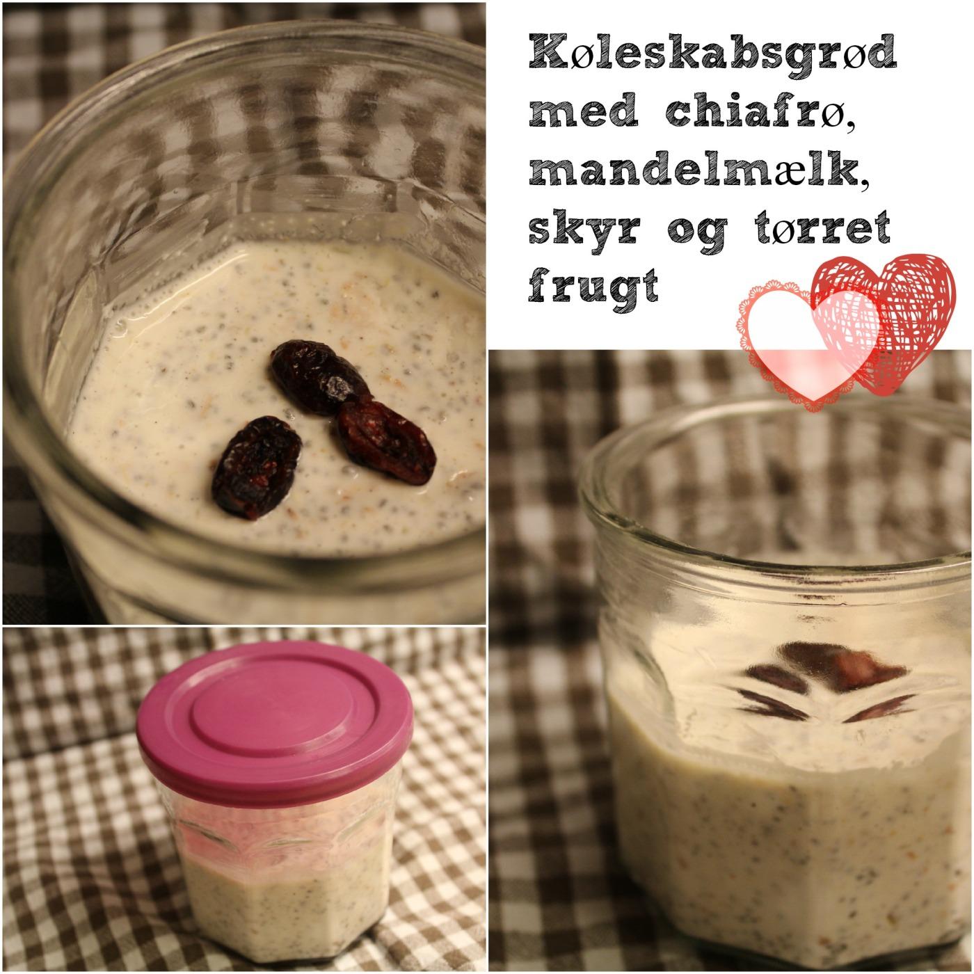 Køleskabsgrød med chiafrø, mandelmælk, skyr og tørret frugt