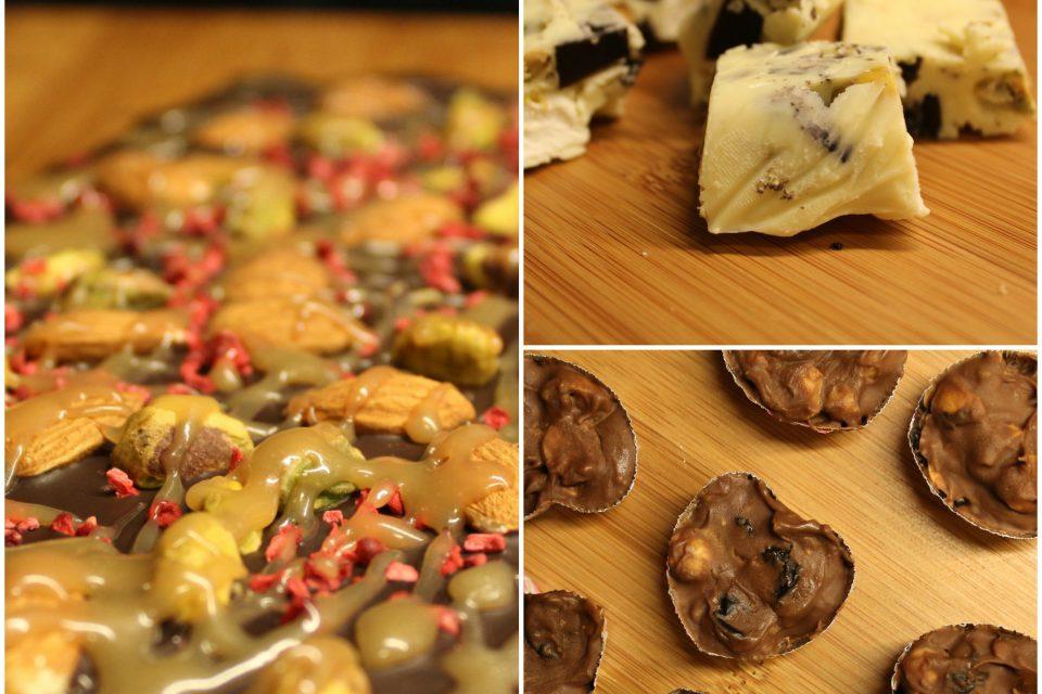 3 chokoladelækkerier: rocky road, chokoladebark og rom-rosinchokolade