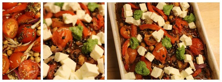 Bagte tomater med kikærter linser og feta