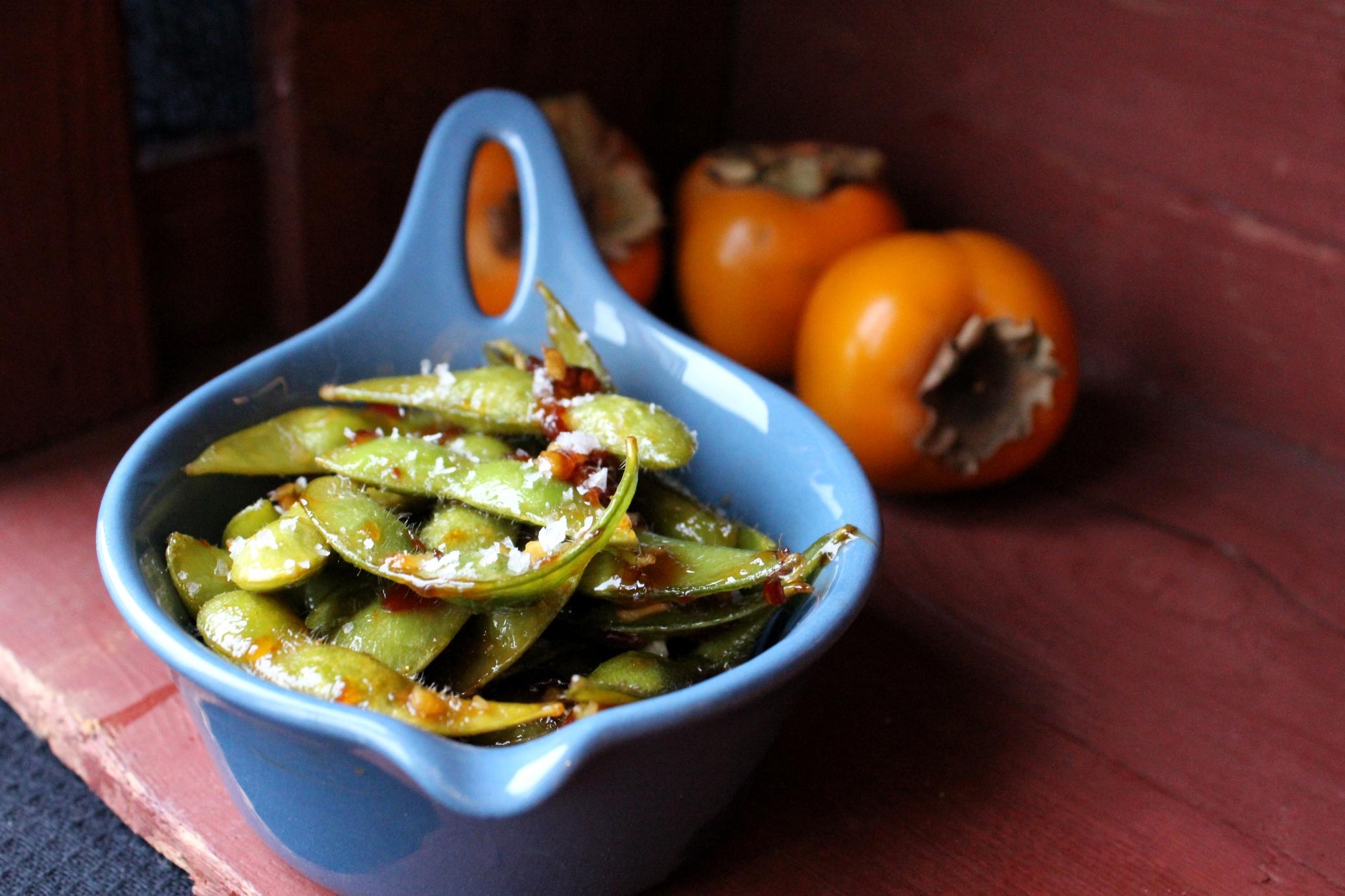 Edamamebønner med chili, ingefær og hvidløg