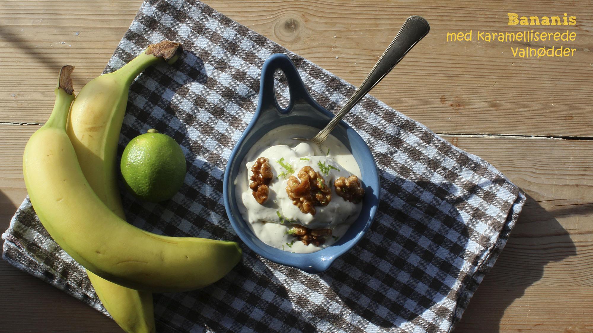 Bananis med karamelliserede valnødder