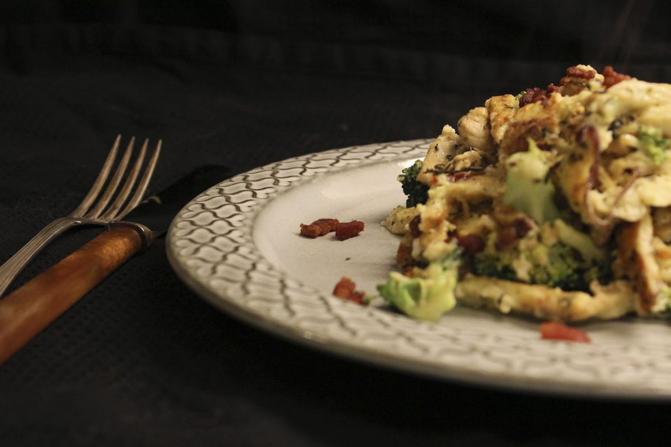 Spaghetti carbonara med kylling og broccoli
