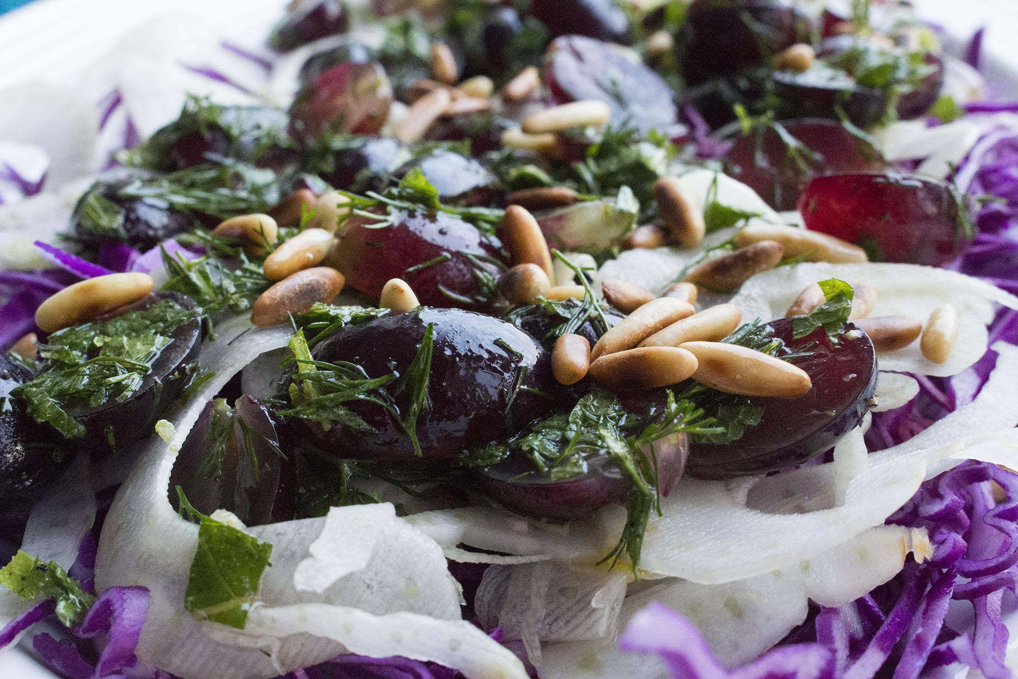 Rød spidskålsalat med vindruesalsa