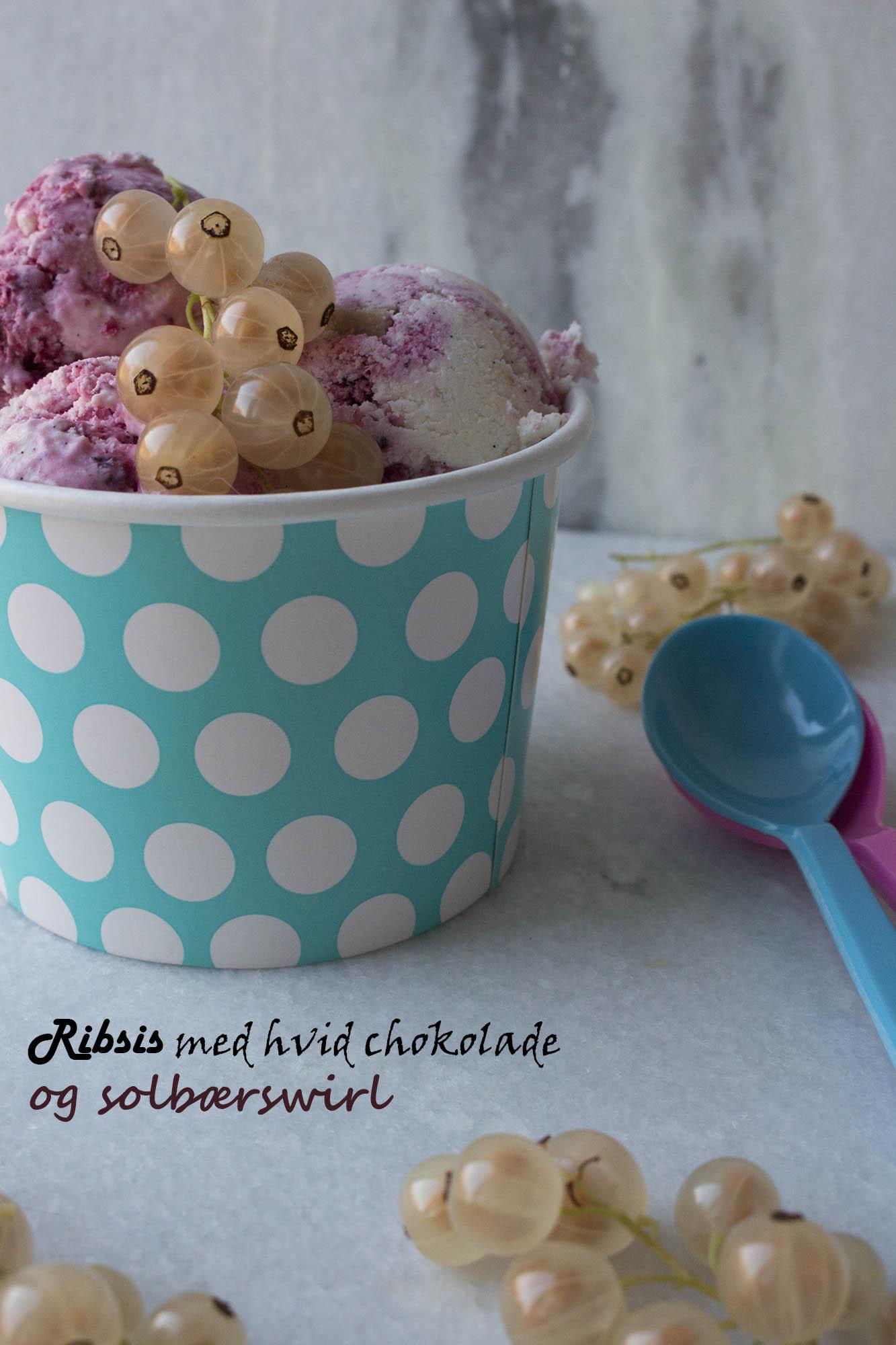 Ribsis med hvid chokolade og solbærswirl