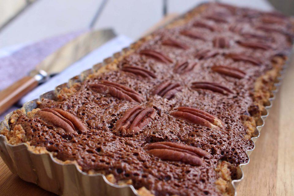 Pecan-chokoladetærte