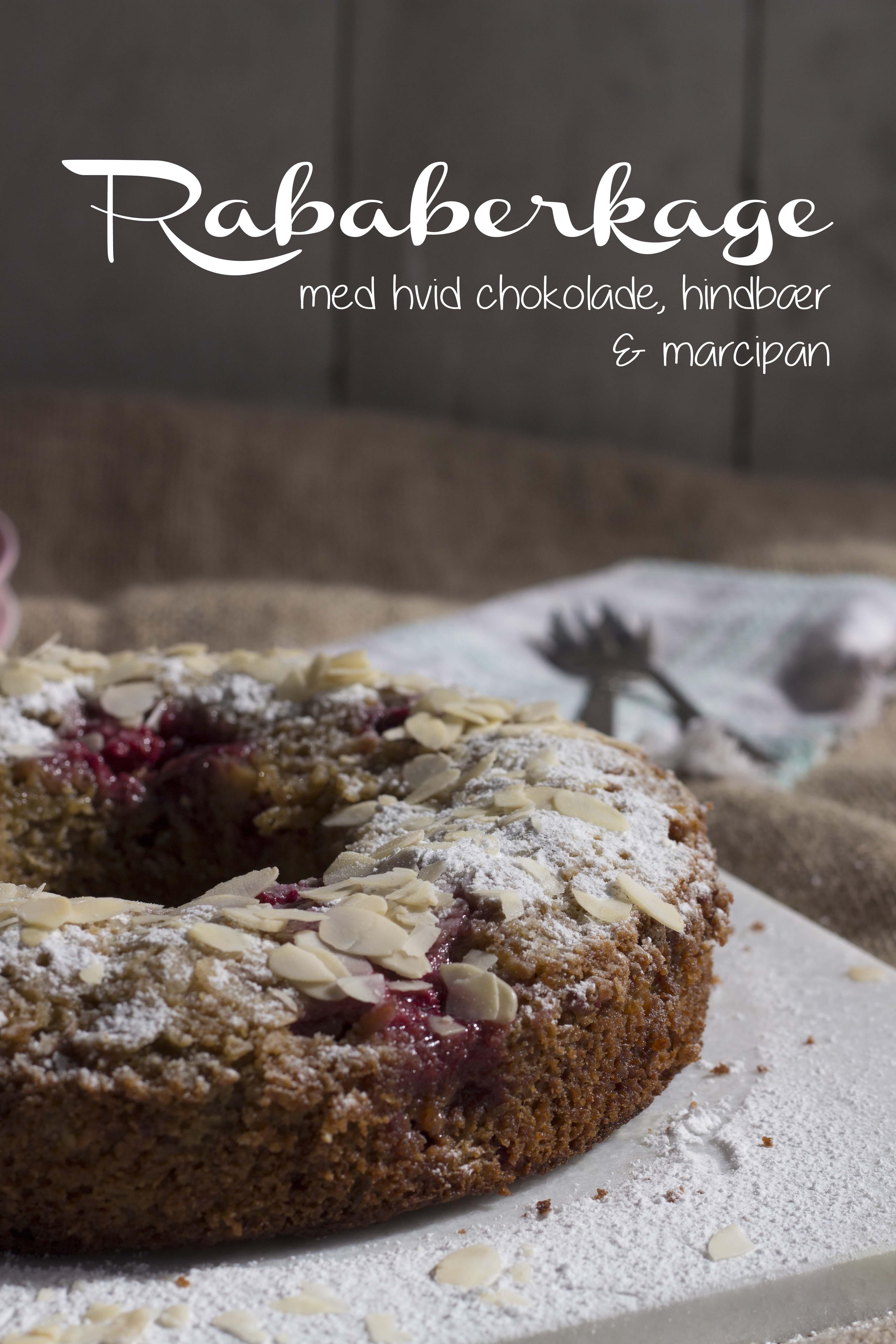 Raberberkage med hvid chokolade, hindbær og marcipan