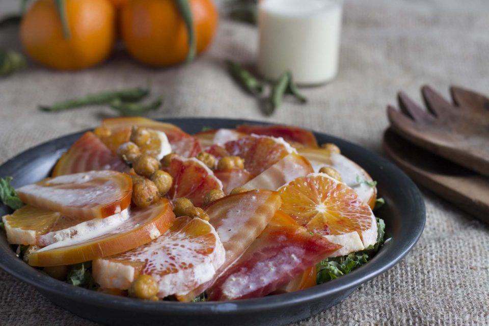Rødbedesalat med blodappelsin og clementindressing